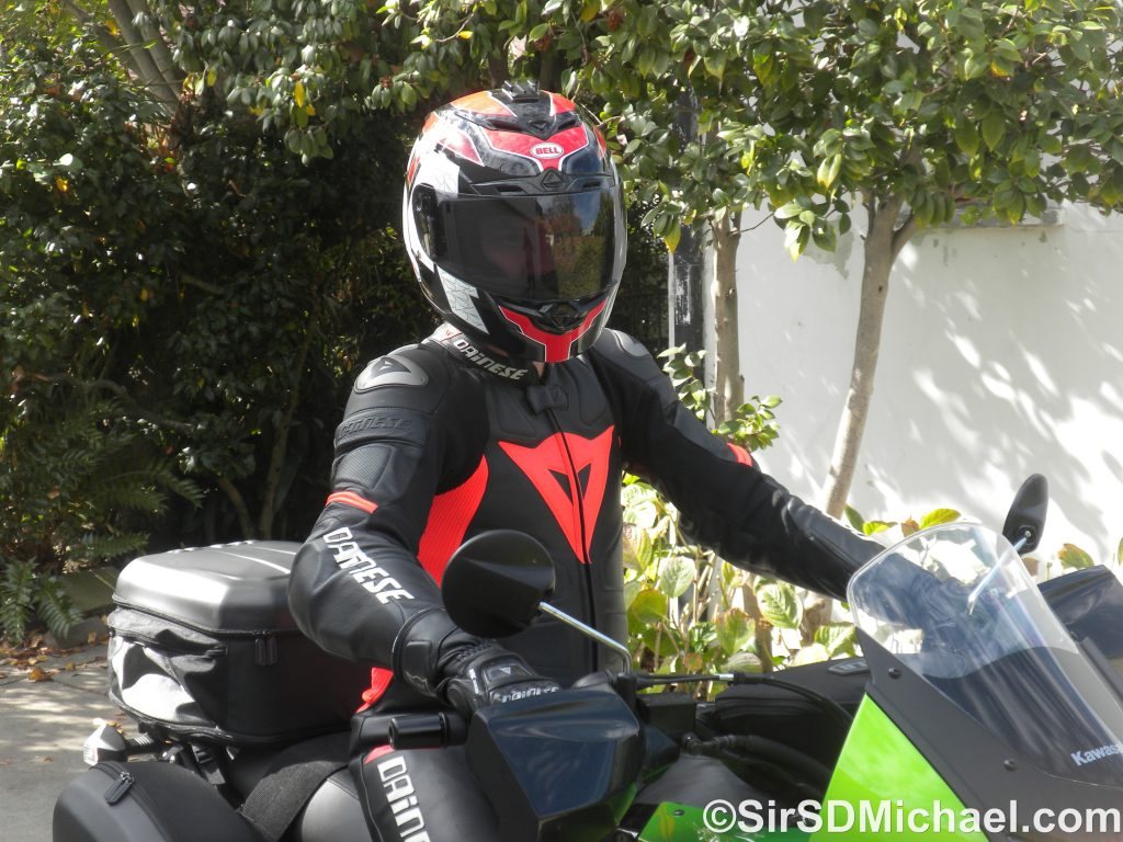 In my Dainese leathers on my 2014 Kawasaki KLR 650.
