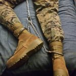 Marine Pup in chains