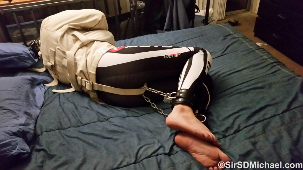 Straitjacket hogtie, one of my favorite and immobilizing positions