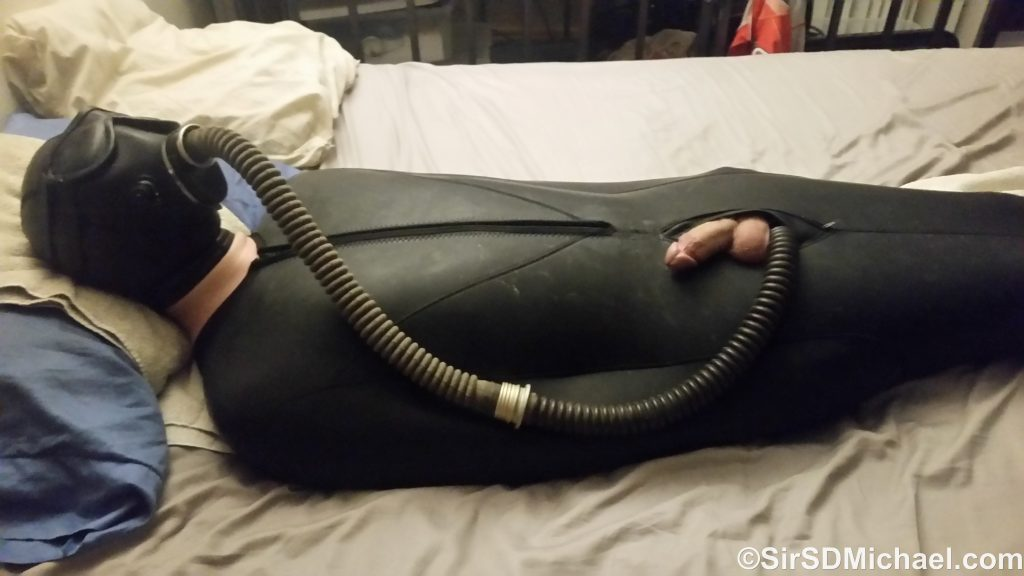 Pup Sparky enjoying some sleepsack time.