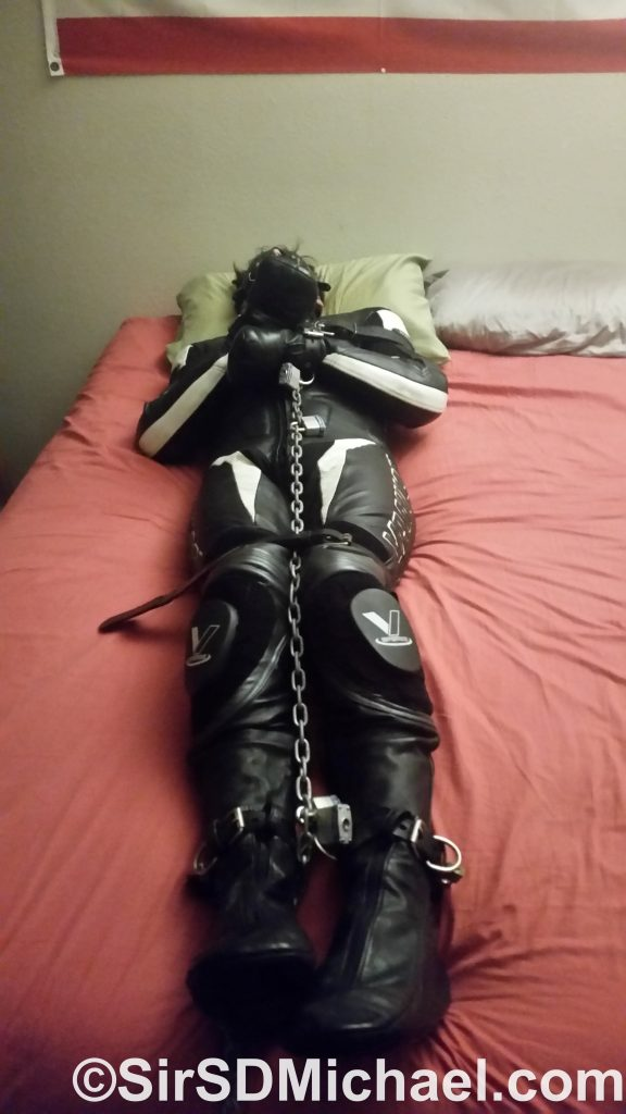 I decided against boots, as the bondage socks help add to the more complete leather coverage.